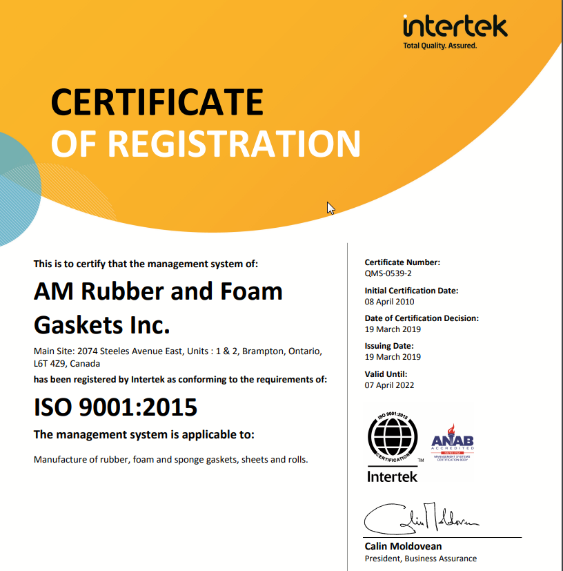 gasket manufacturer Canada Certification